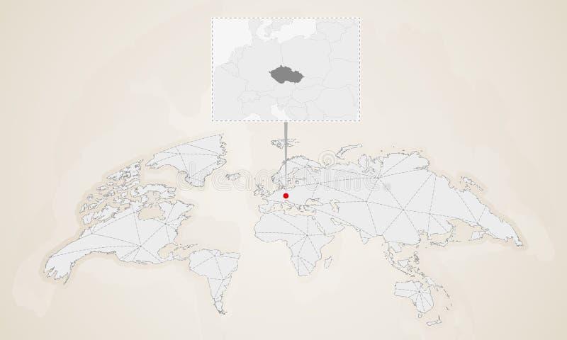 Mapa de la República Checa con los países vecinos fijados en mapa del mundo ilustración del vector