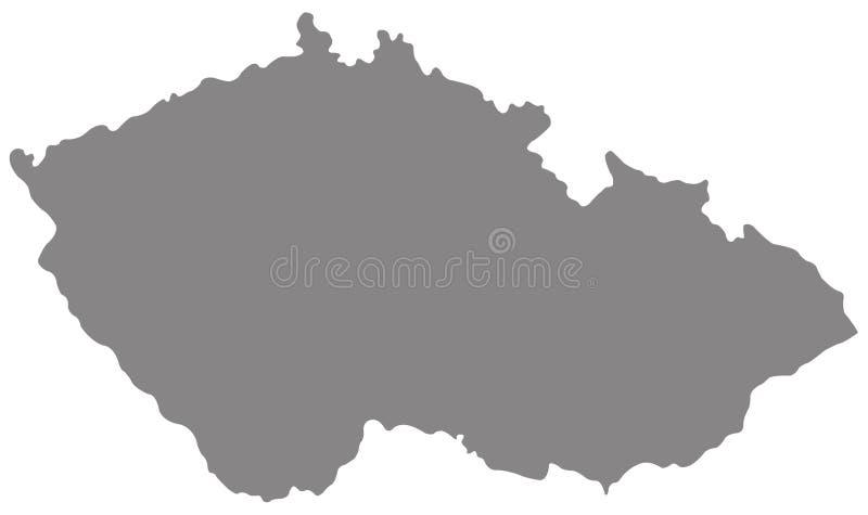 Mapa de la República Checa - país en Europa Central ilustración del vector