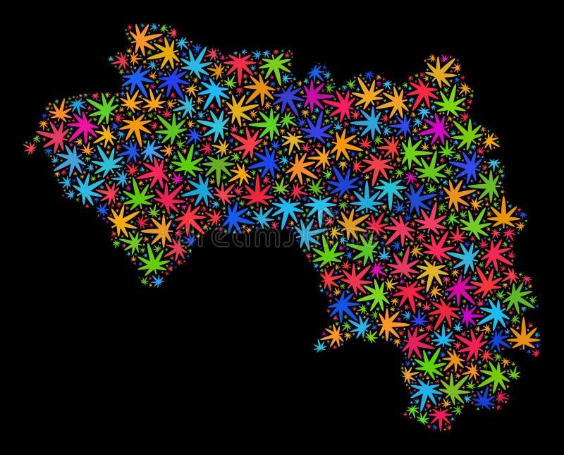 Mapa de la República de Guinea del mosaico de las hojas coloridas del cáñamo ilustración del vector
