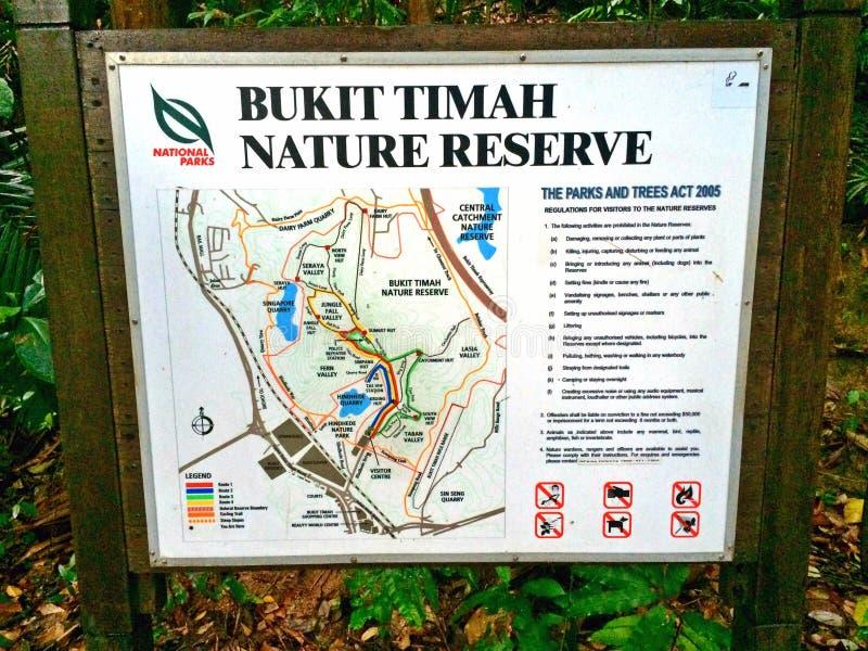 Mapa de la reserva de naturaleza de Bukit Timah en Singapur foto de archivo libre de regalías