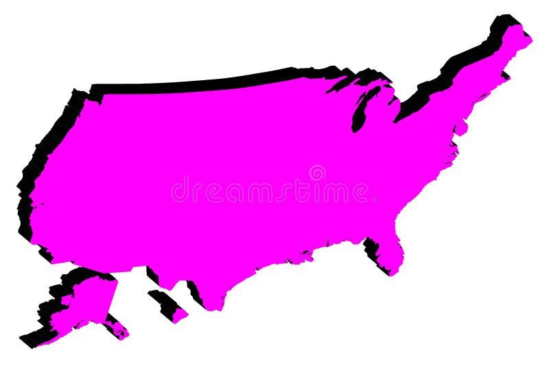 Mapa de la silueta del vector de los Estados Unidos de América stock de ilustración