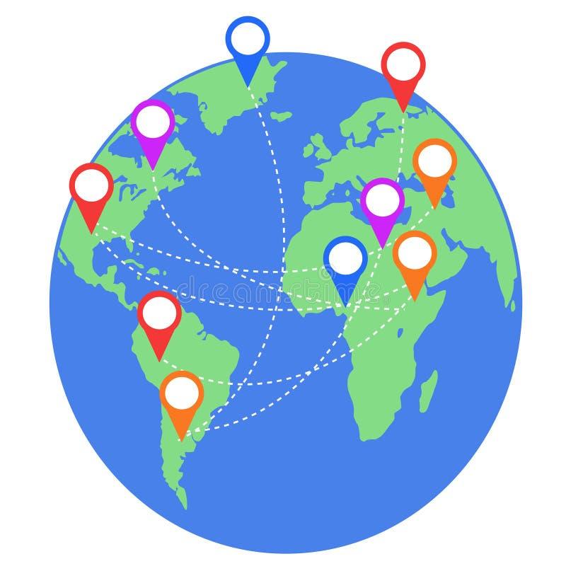 Mapa de la tierra con los elementos del viaje de los pernos de la ubicación del geo libre illustration