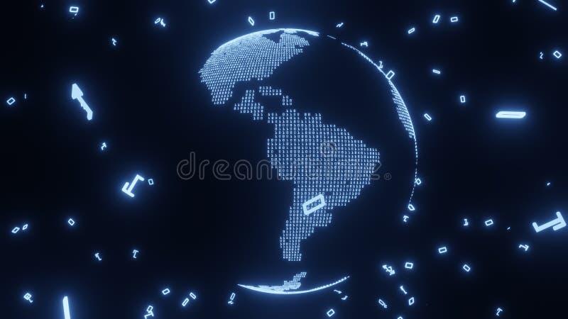 Mapa de la Tierra construido por código digital, representación 3D ilustración del vector