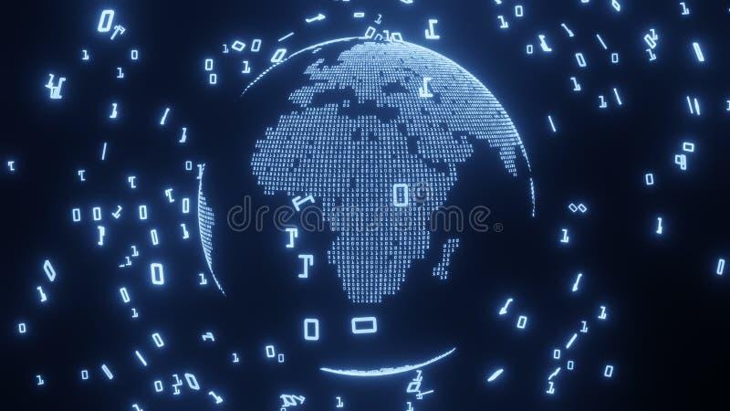 Mapa de la Tierra construido por código digital, representación 3D libre illustration