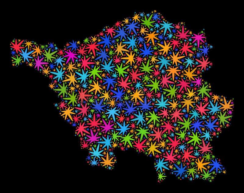 Mapa de la tierra del Sarre del mosaico de las hojas multicoloras del cáñamo libre illustration