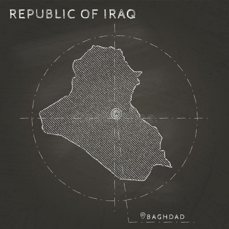 Mapa de la tiza de la República de Irak con el capital marcado stock de ilustración