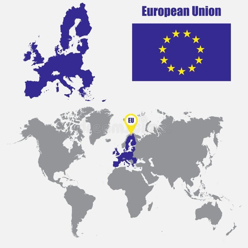 Mapa de la unión europea en un mapa del mundo con el indicador de la bandera y del mapa Ilustración del vector stock de ilustración