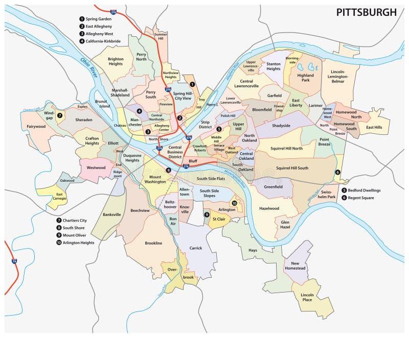 Mapa de la vecindad de Pittsburgh libre illustration
