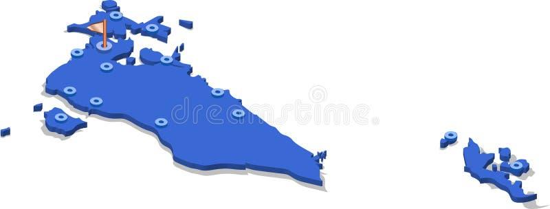 mapa de la visión isométrica 3d de Bahrein con la superficie y las ciudades azules stock de ilustración