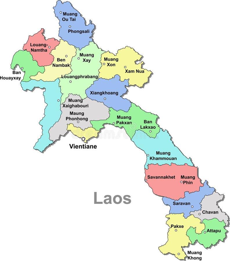 Mapa de Laos ilustração royalty free