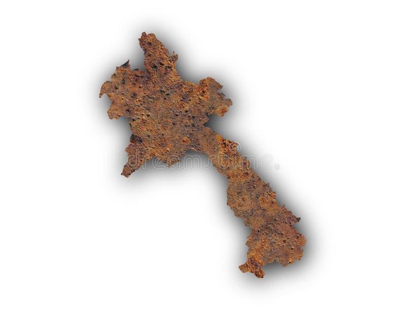 Mapa de Laos en el metal oxidado imagenes de archivo