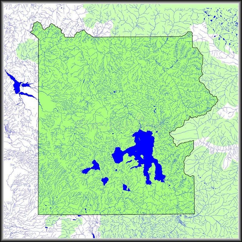 Mapa de las caracter?sticas del agua de Yellowstone fotografía de archivo