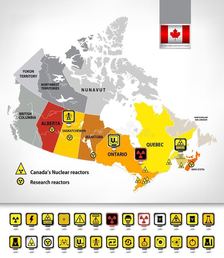 Mapa de las centrales nuclear de Canadá 2 ilustración del vector