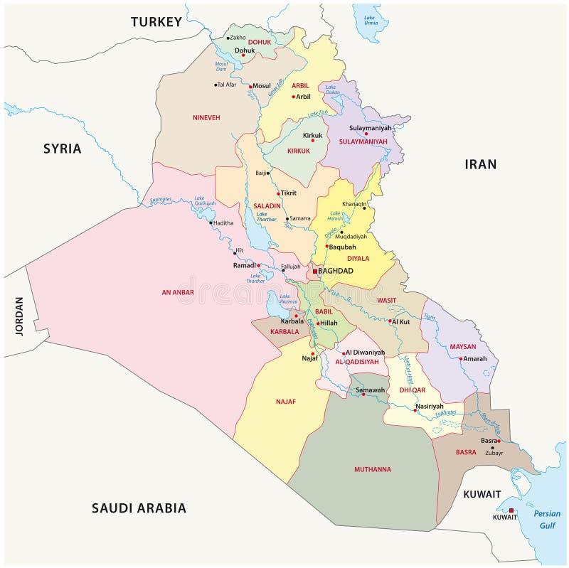 Mapa de las divisiones administrativas de Iraq ilustración del vector