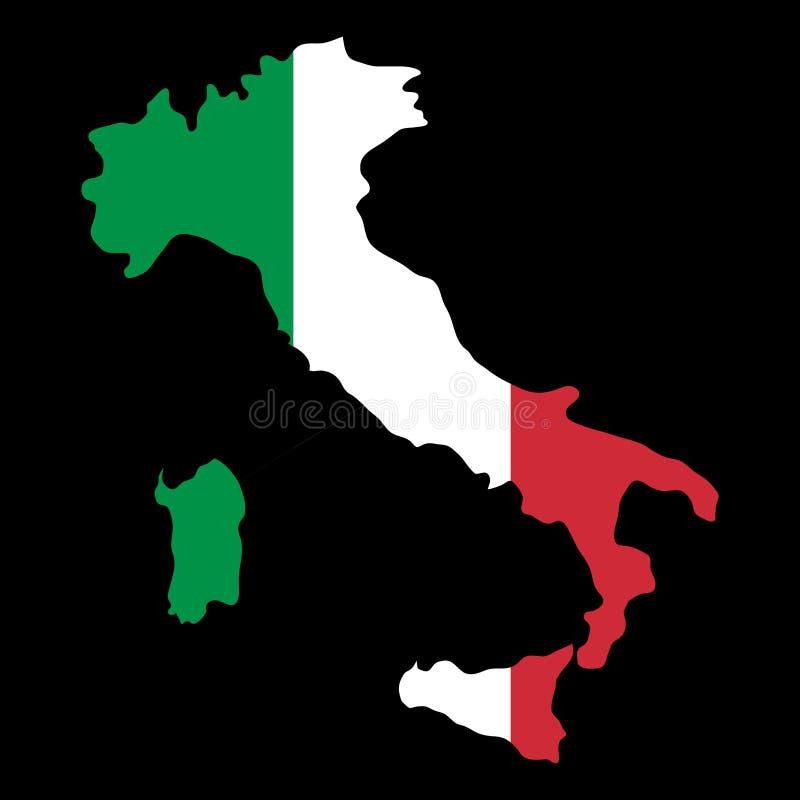 Mapa de las fronteras del país de la silueta de Italia en backgro de la bandera nacional ilustración del vector