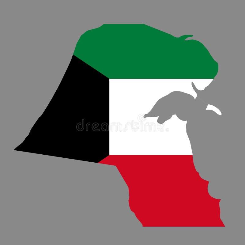 Mapa de las fronteras del país de la silueta de Kuwait en backgr de la bandera nacional ilustración del vector