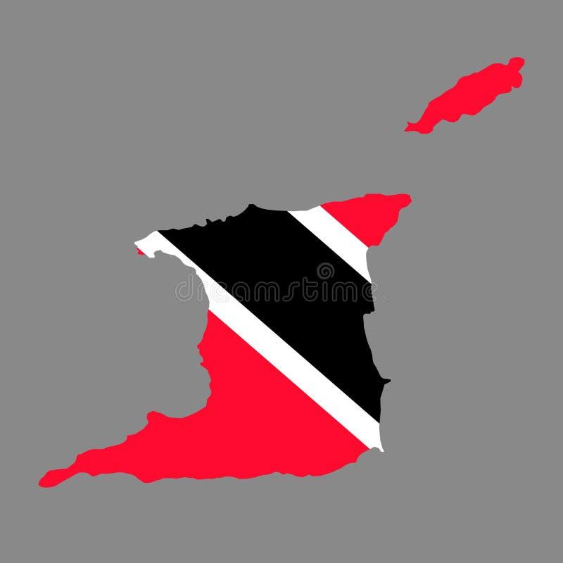 Mapa de las fronteras del país de la silueta de Trinidad and Tobago en nationa ilustración del vector