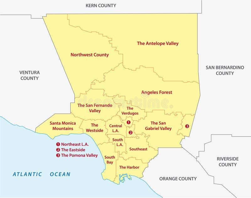 Mapa de las regiones del condado de Los Angeles stock de ilustración