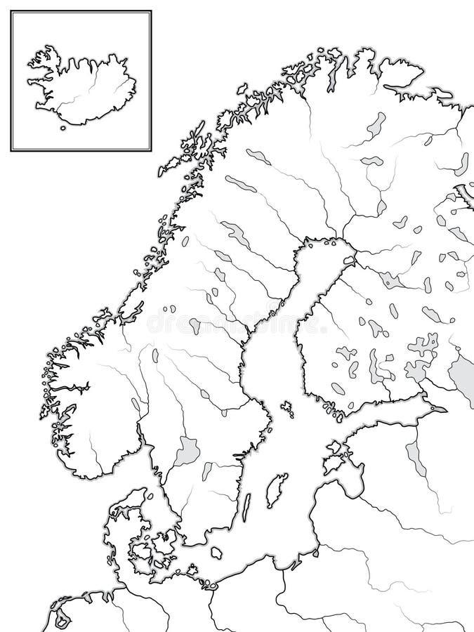 Mapa de las tierras ESCANDINAVAS: Escandinavia, Suecia, Noruega, Finlandia, Dinamarca y Islandia Carta geográfica stock de ilustración