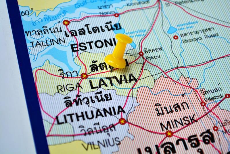Mapa de Letónia imagem de stock