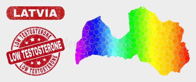Mapa de Letonia del mosaico del espectro y apenar el sello bajo del sello de la testosterona ilustración del vector