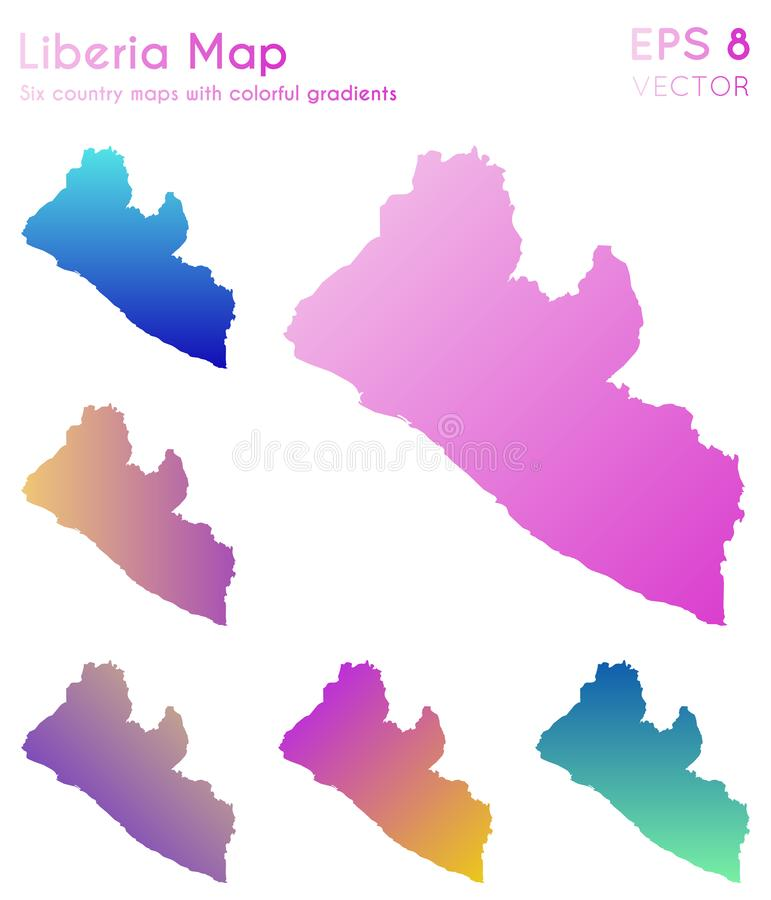Mapa de Libéria com inclinações bonitos ilustração royalty free