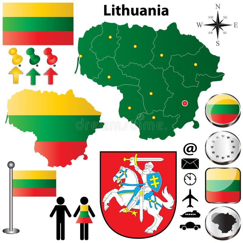 Mapa de Lituania ilustración del vector