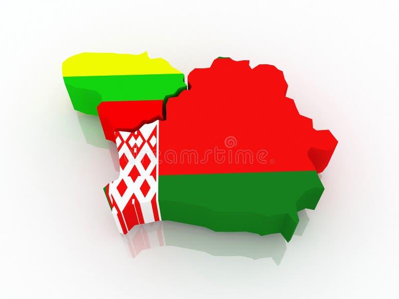 Mapa de Lituania y de Bielorrusia. ilustración del vector