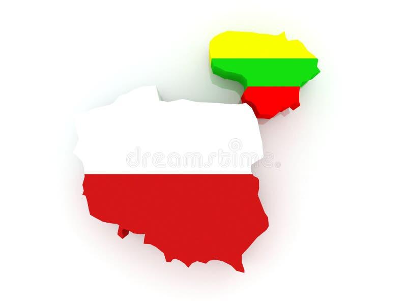 Mapa de Lituania y de Polonia. libre illustration
