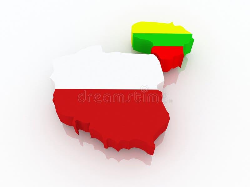 Mapa de Lituania y de Polonia. ilustración del vector