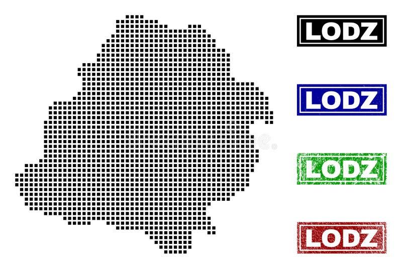 Mapa de Lodz Voivodeship en Dot Style con los sellos del subtítulo del Grunge libre illustration