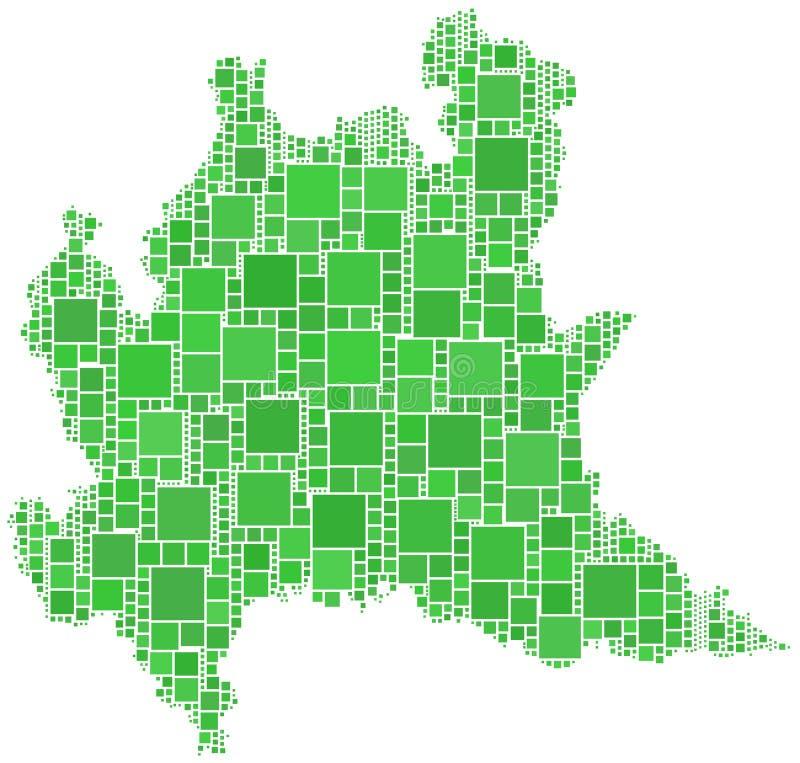 Mapa de Lombardia (Italy) ilustração stock