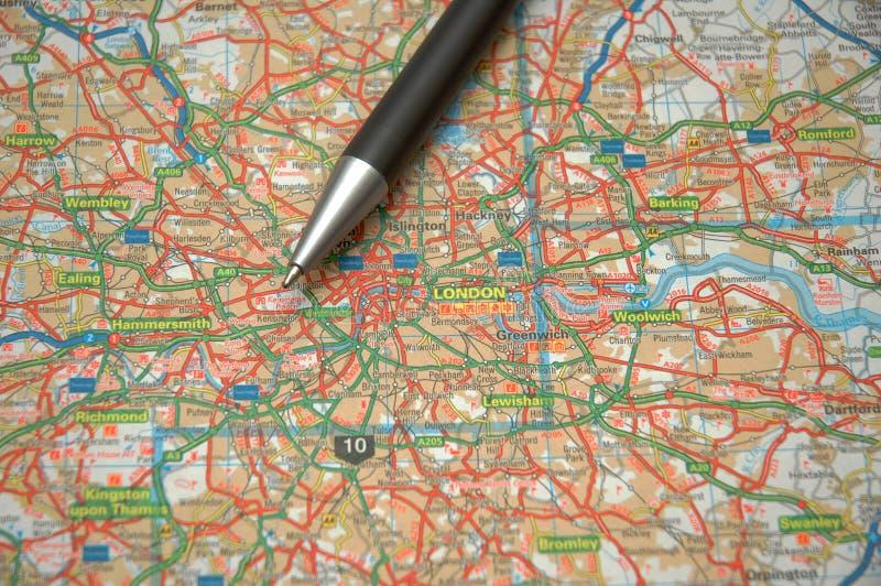 Mapa de Londres central imagens de stock