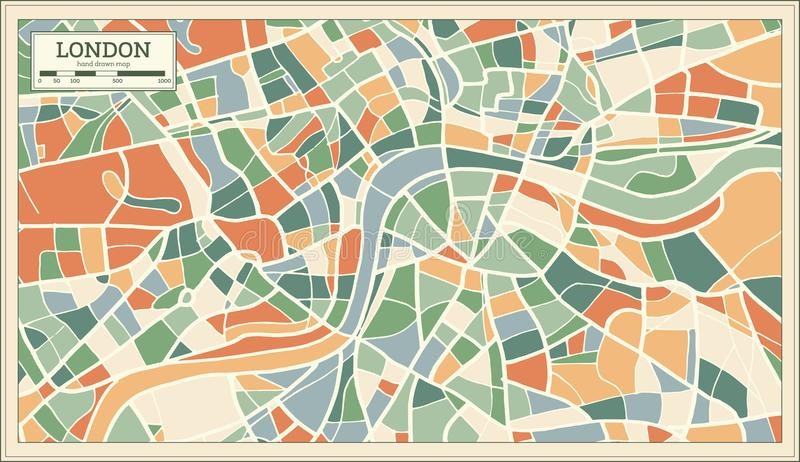 Mapa de Londres Inglaterra no estilo retro abstrato ilustração royalty free