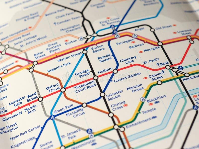 Mapa de Londres subterrâneo imagens de stock royalty free