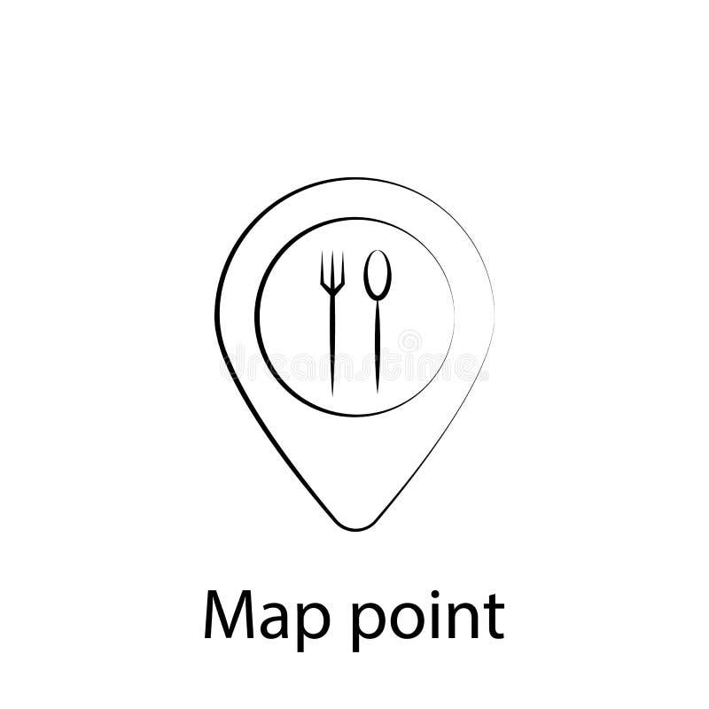 Mapa de los alimentos de preparaci?n r?pida, icono del esquema del perno Elemento del icono del ejemplo de la comida Las muestras ilustración del vector