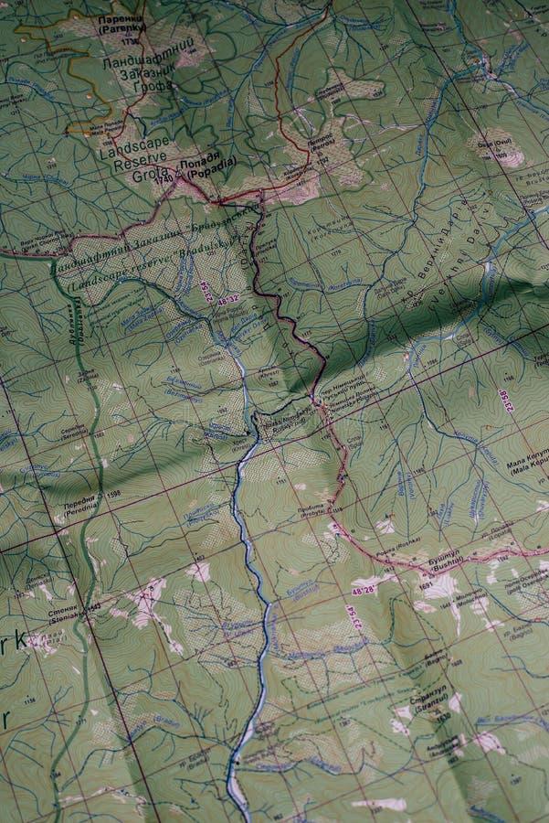 Mapa de los Cárpatos ucranianos imágenes de archivo libres de regalías