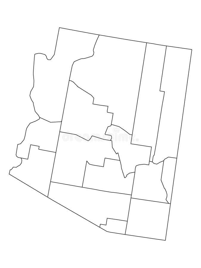 Mapa de los condados del estado de los E.E.U.U. de Arizona stock de ilustración