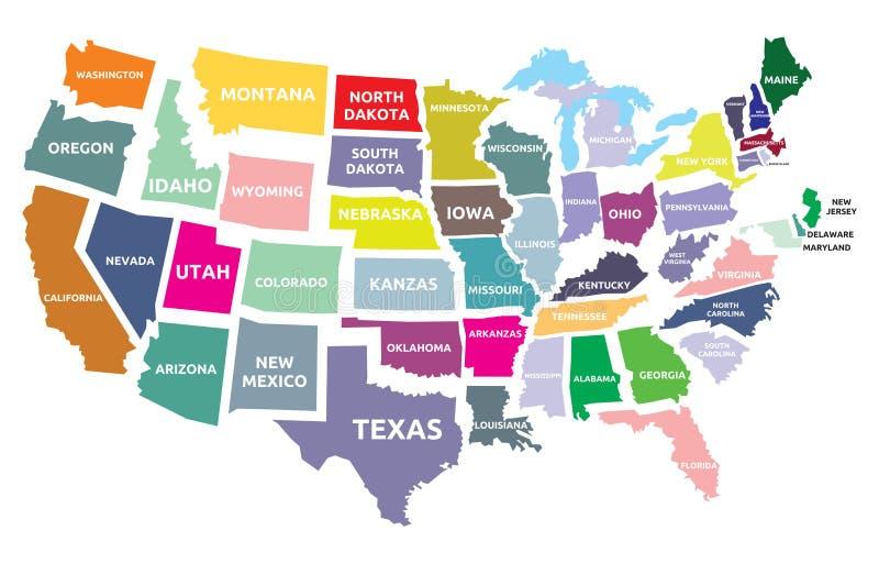 Mapa de los E.E.U.U. con los estados stock de ilustración
