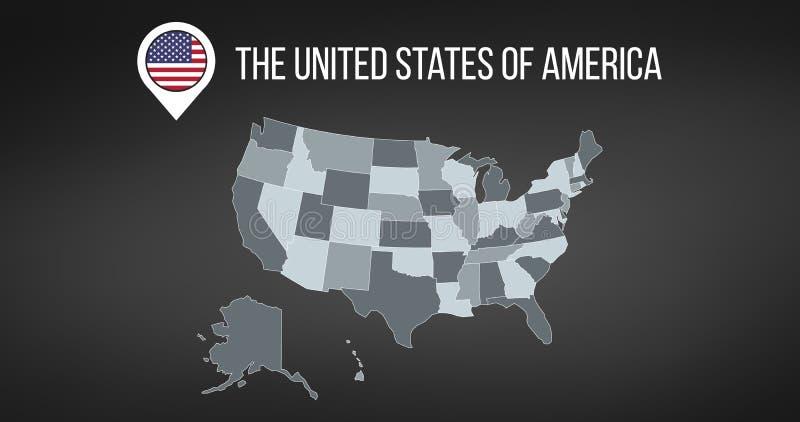 Mapa de los E.E.U.U. con la información general y bandera en el perno del mapa Dise?o de Infographics Modelo de Infographic Ilust stock de ilustración