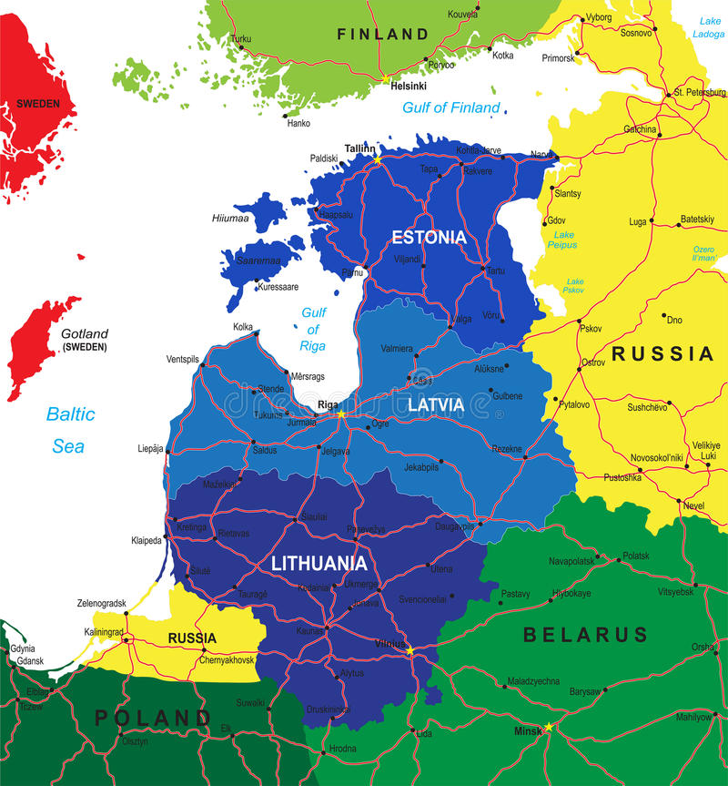 Mapa de los Estados bálticos stock de ilustración
