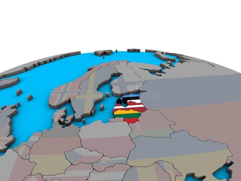 Mapa de los Estados bálticos con las banderas en el globo stock de ilustración