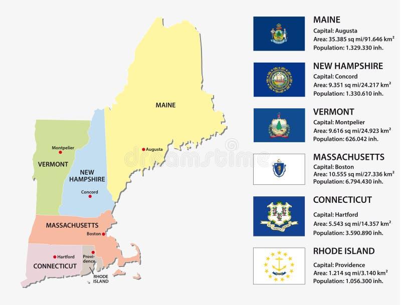 Mapa de los estados de Nueva Inglaterra ilustración del vector