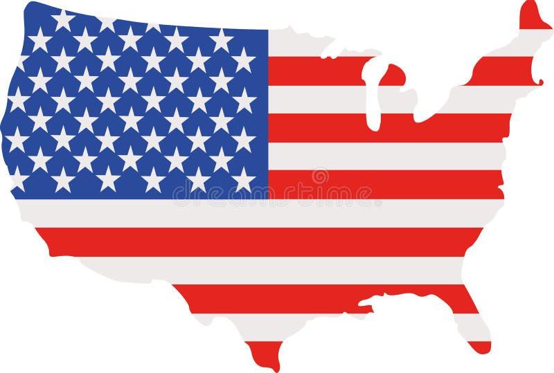 Mapa de los Estados Unidos de América con la bandera ilustración del vector
