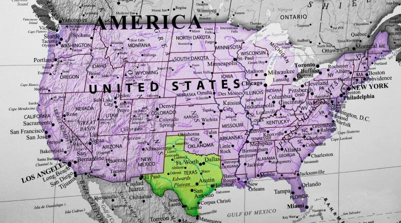 Mapa de los Estados Unidos de América que destacan Tejas foto de archivo