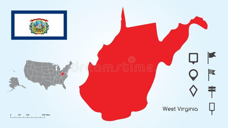 Mapa de los Estados Unidos con el estado seleccionado de Virginia And West Virginia Flag del oeste con la colección del localizad libre illustration