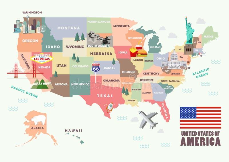 Mapa de los Estados Unidos de América con las atracciones famosas libre illustration