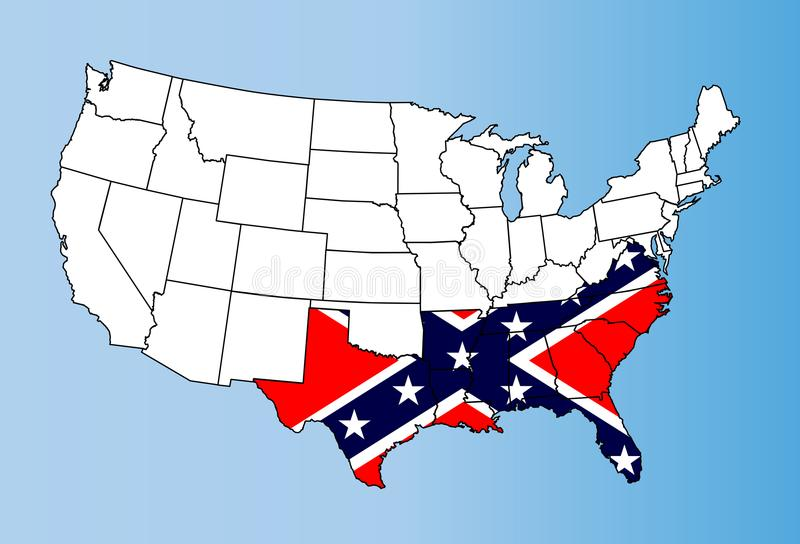 Mapa de los estados y bandera confederados del rebelde libre illustration