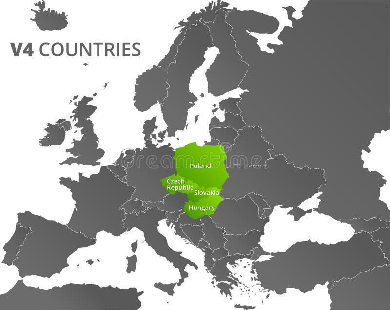 Mapa de los países del grupo V4 de Visegrado libre illustration