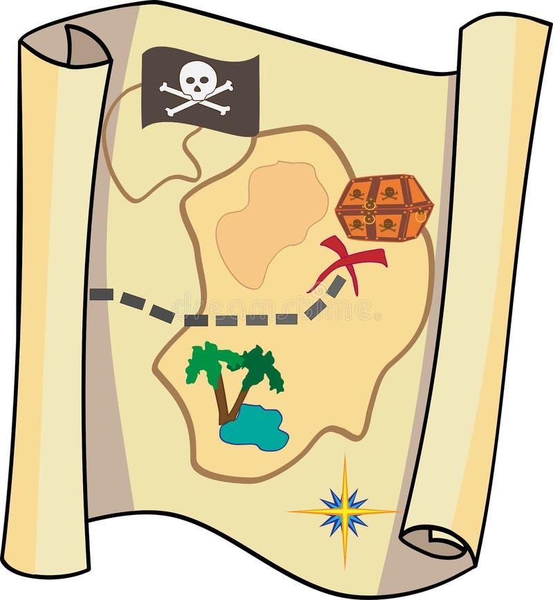 Mapa de los piratas fotografía de archivo